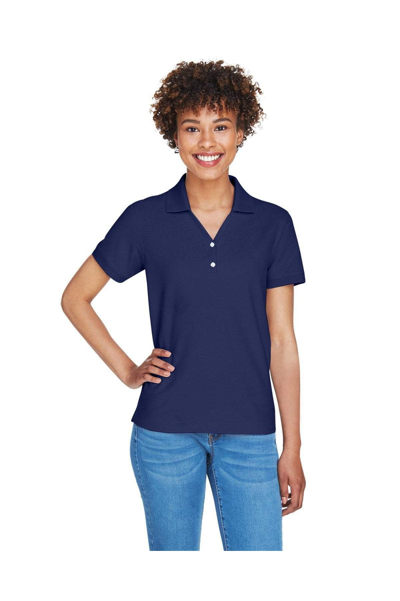 Devon & Jones D100W: Ladies' Pima Pique Short-Sleeve Y-Collar Polo, Basic Colors-Polos-Bulkthreads.com, Wholesale T-Shirts and Tanks