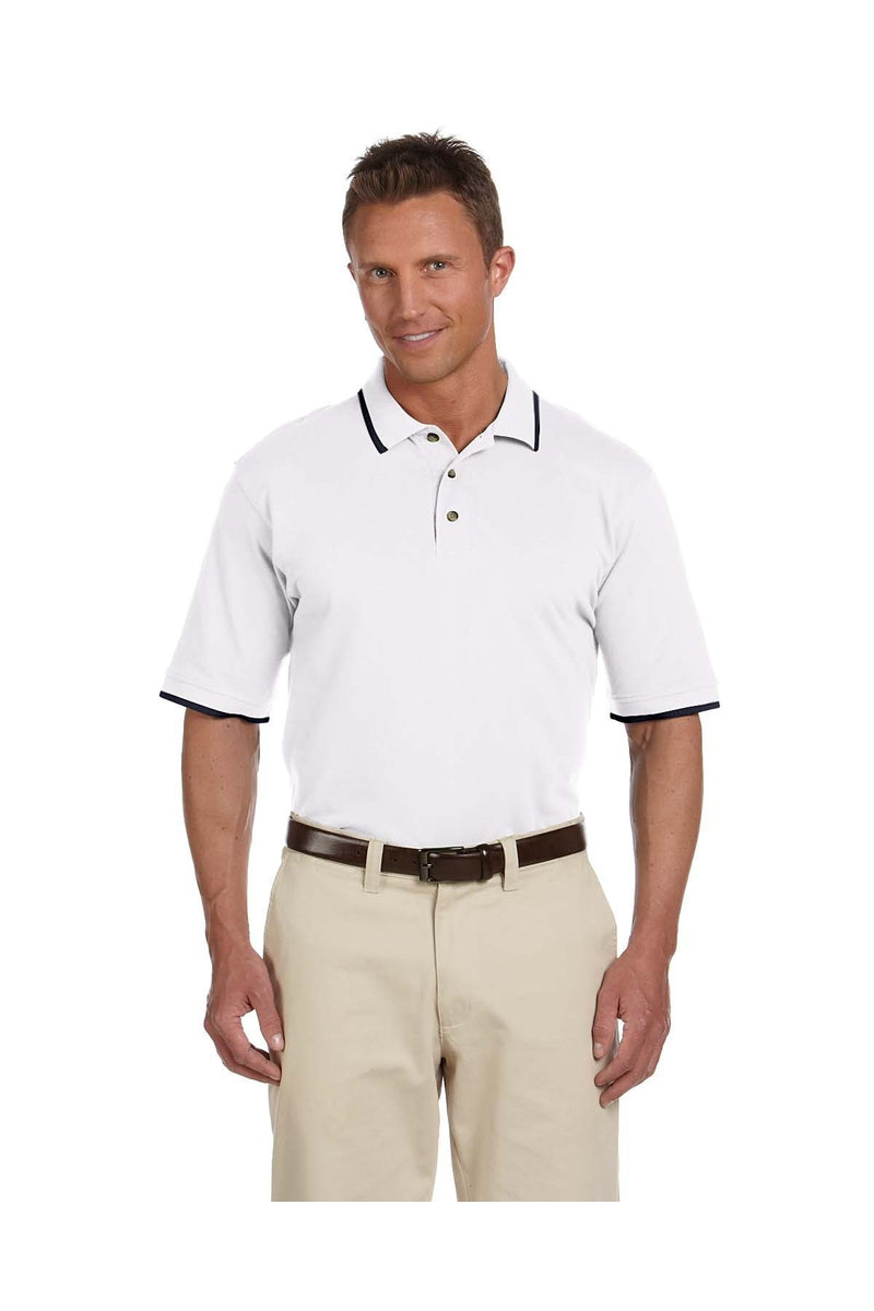Harriton M210: Adult 6 oz. Short-Sleeve Pique Polo with Tipping-Polos-Bulkthreads.com, Wholesale T-Shirts and Tanks