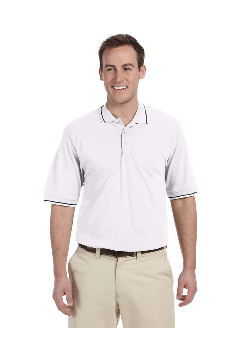 Harriton M270: Men's 5.6 oz. Tipped Easy Blend(tm) Polo-Polos-Bulkthreads.com, Wholesale T-Shirts and Tanks