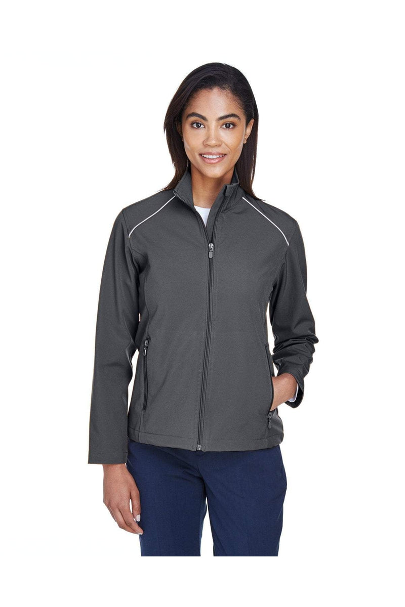 Harriton M780W: Ladies' Echo Soft Shell Jacket-Outerwear-Bulkthreads.com, Wholesale T-Shirts and Tanks