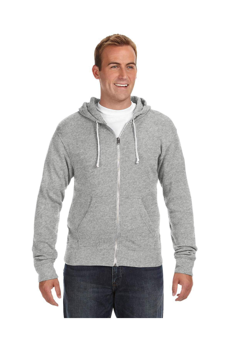 J America JA8872: Adult Triblend Full-Zip Fleece Hood-J America-Bulkthreads.com