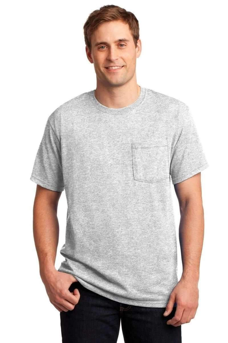 JERZEES 29P: Dri-Power Active 50/50 Cotton/Poly Pocket T Shirt-T-Shirts-Jerzees-Ash-S-wholesale t shirts -Bulkthreads.com