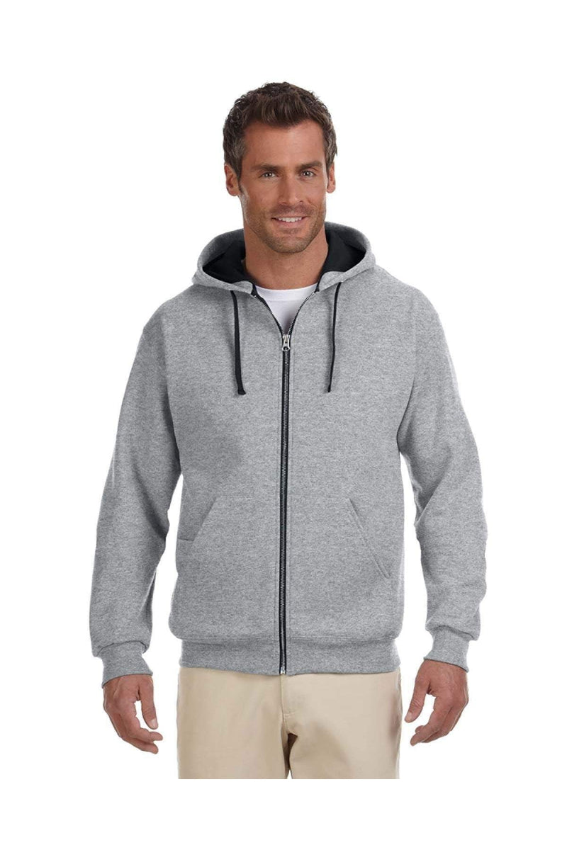 Jerzees 93CR: Adult 8 oz. NuBlend(r) Contrast Full-Zip Hood-Sweatshirts-Bulkthreads.com, Wholesale T-Shirts and Tanks