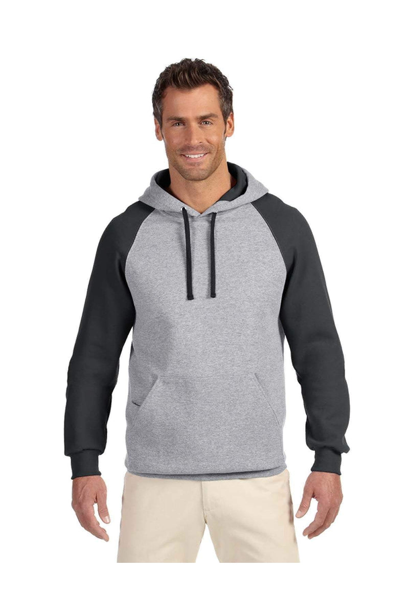 Jerzees 96CR: Adult 8 oz. NuBlend(r) Colorblock Raglan Pullover Hood-Sweatshirts-Bulkthreads.com, Wholesale T-Shirts and Tanks