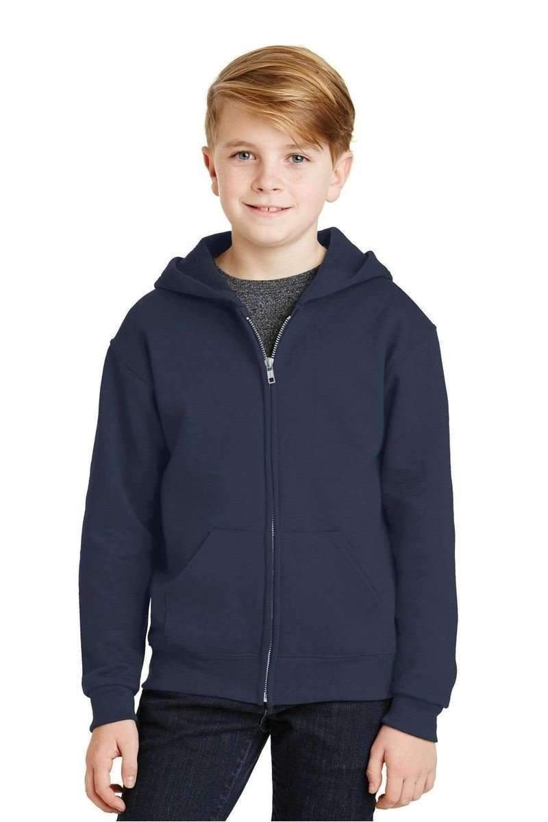 JERZEES 993B: Youth Wholesale Full-Zip Hooded Sweatshirt-Sweatshirts/Fleece-Bulkthreads.com, Wholesale T-Shirts and Tanks
