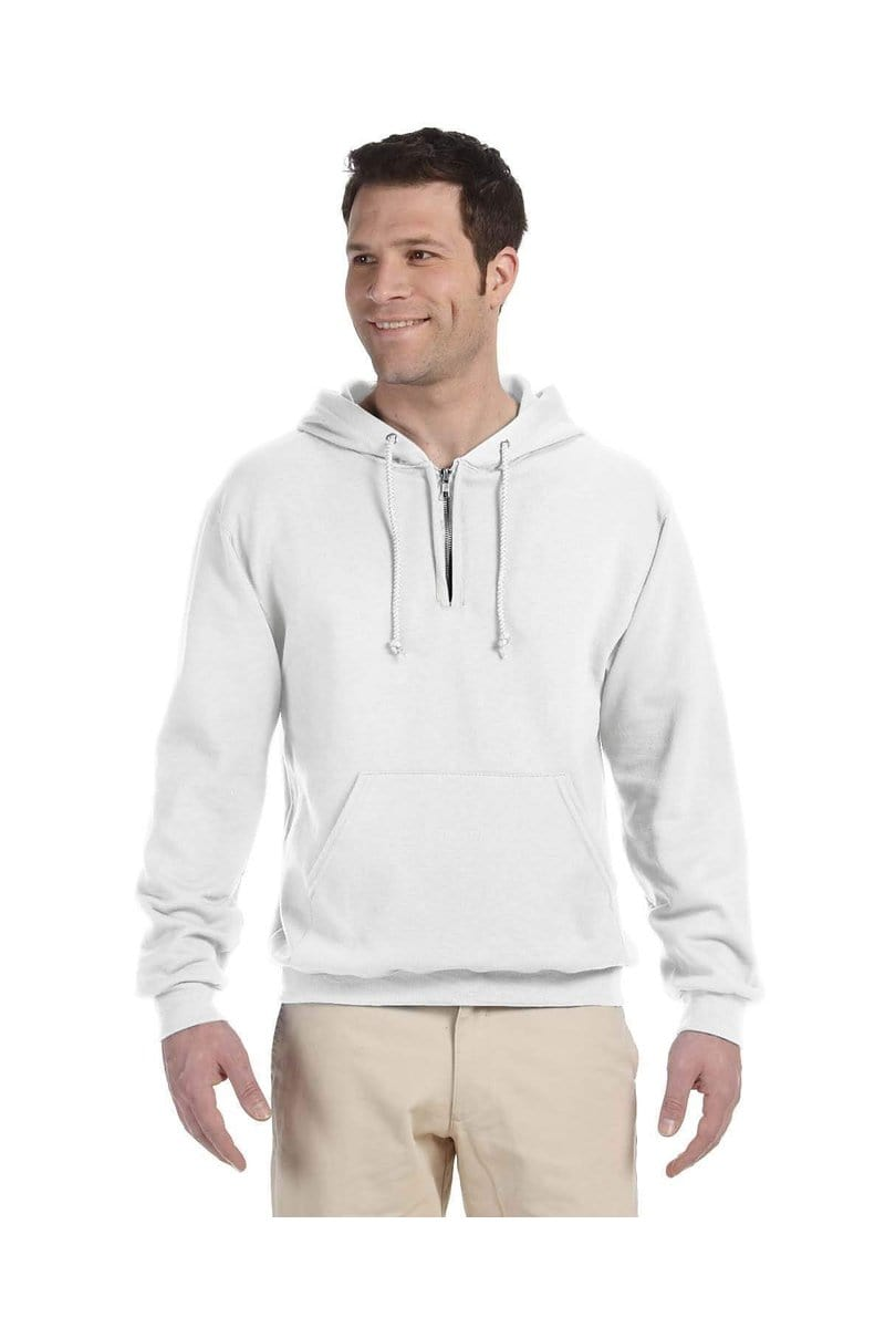 Jerzees 994MR: Adult 8 oz. NuBlend(r) Fleece Quarter-Zip Pullover Hood-Jerzees-Bulkthreads.com