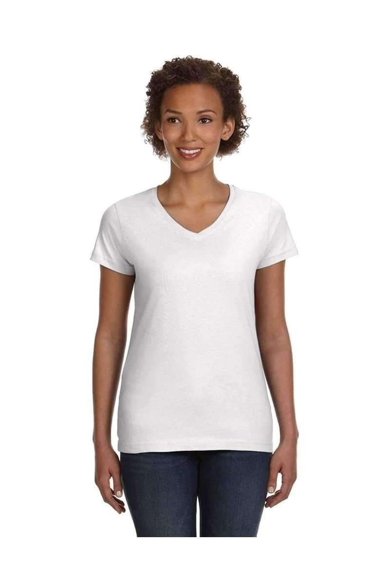 LAT 3507: Ladies' V-Neck Fine Jersey-Women's T-Shirts-LAT-S-White-wholesale t shirts -Bulkthreads.com
