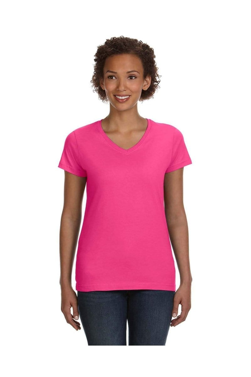 LAT 3507: Ladies' V-Neck Fine Jersey T-Shirt, Basic Colors-T-Shirts-Bulkthreads.com, Wholesale T-Shirts and Tanks