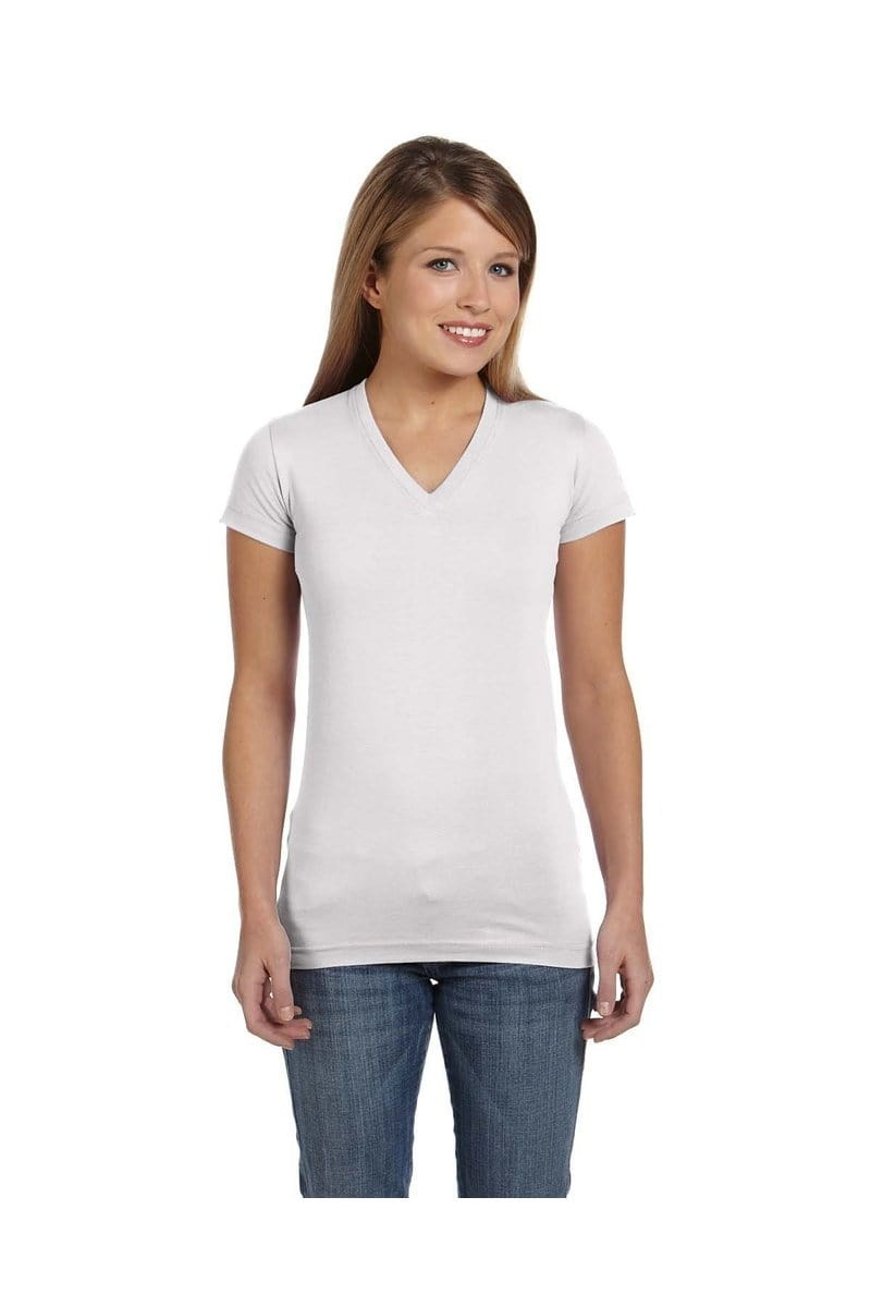 LAT 3607: Ladies' Junior Fit V-Neck Fine Jersey T-Shirt-T-Shirts-Bulkthreads.com, Wholesale T-Shirts and Tanks