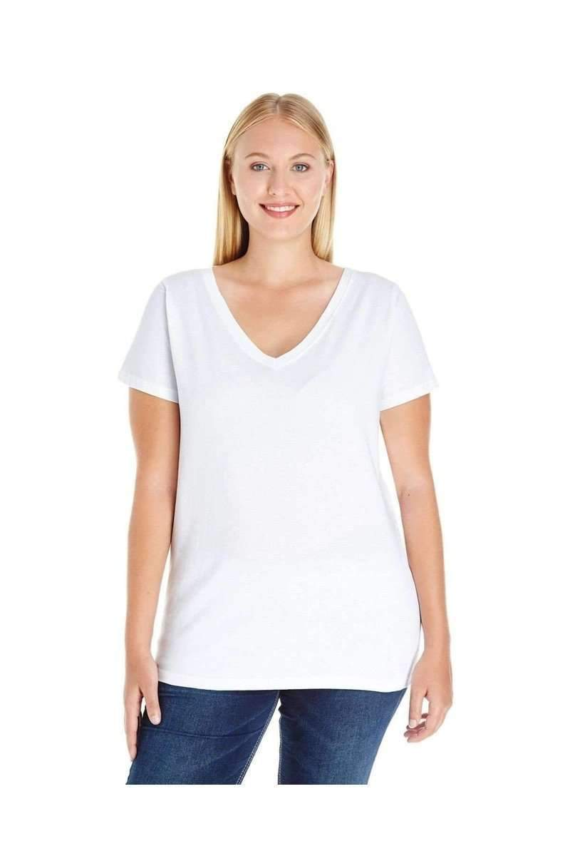 LAT 3807: Ladies' Curvy V-Neck Premium Jersey Wholesale T Shirt-Women's T-Shirts-Bulkthreads.com, Wholesale T-Shirts and Tanks