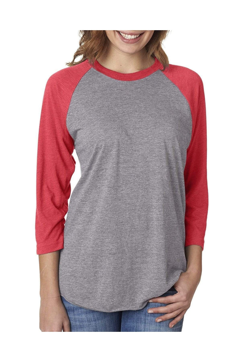 Next Level 6051: Unisex Triblend 3/4-Sleeve Raglan, Basic Colors-T-Shirts-Bulkthreads.com, Wholesale T-Shirts and Tanks
