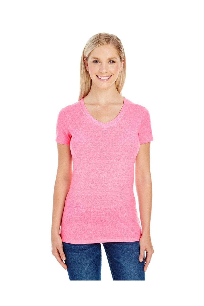 Threadfast Apparel 202B: Ladies' Triblend Short-Sleeve V-Neck T-Shirt-T-Shirts-Bulkthreads.com, Wholesale T-Shirts and Tanks