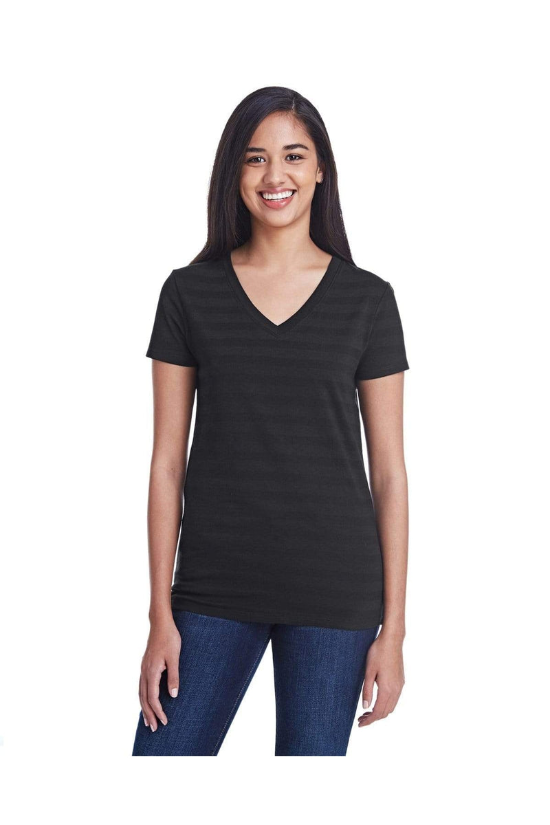 Threadfast Apparel 252RV: Ladies' Invisible Stripe V-Neck T-Shirt-T-Shirts-Bulkthreads.com, Wholesale T-Shirts and Tanks
