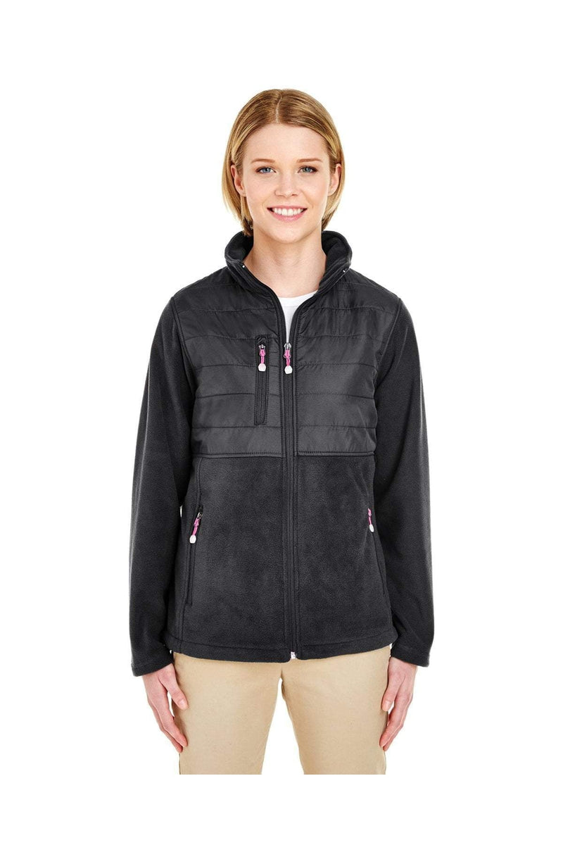 UltraClub 8493: Ladies' Fleece Jacket with Quilted Yoke Overlay-Fleece-Bulkthreads.com, Wholesale T-Shirts and Tanks