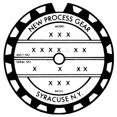 new process gear transfer case tag