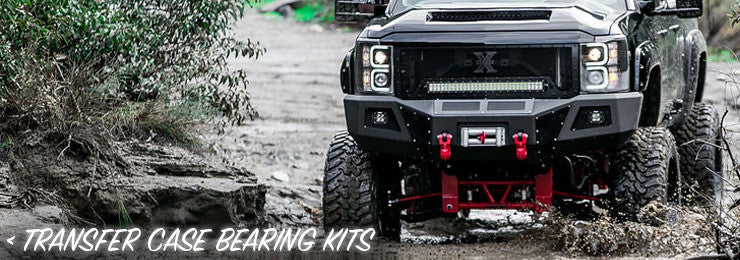 Transfer Case Bearing Kit with black lifted Chevy GMC truck in mud