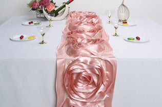 """Eggplant Purple 14x108/"""" RIBBON ROSES TABLE RUNNER Fancy Wedding Party Linens"""