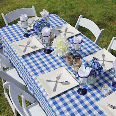 Blue Gingham Tablecloth