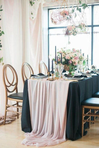 Blush Chiffon Runner over a Navy Tablecloth