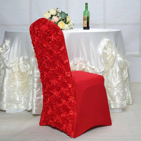 Red satin rosette chair cover