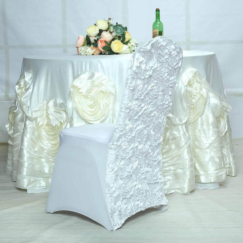 White Rosette Chair Cover