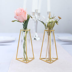 Tall Metal Vases & Flower Candle Holder