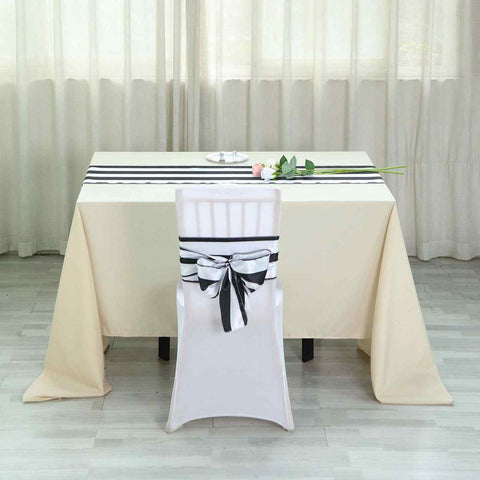 Black/white striped table runner & chair sash