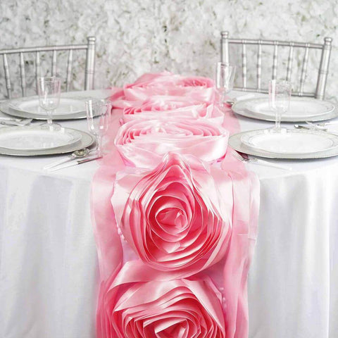 Pink Grandiose Satin Rosette Runner