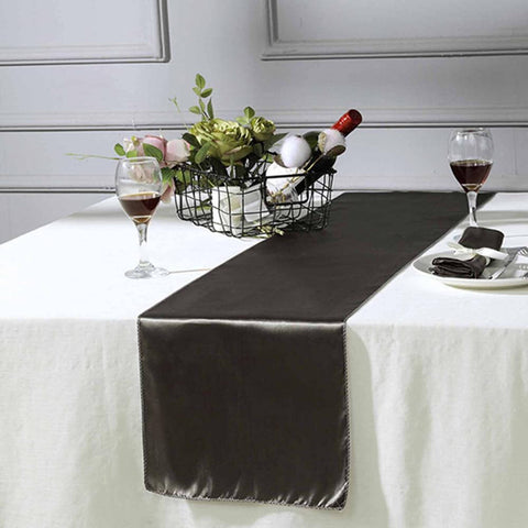 Charcoal grey satin table runner