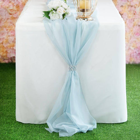 Light blue chiffon table runner