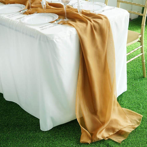 Gold Chiffon Table Runner