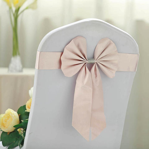Blush Satin & Leather Chair Sash