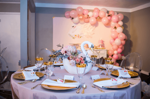 Swan-themed tablescape