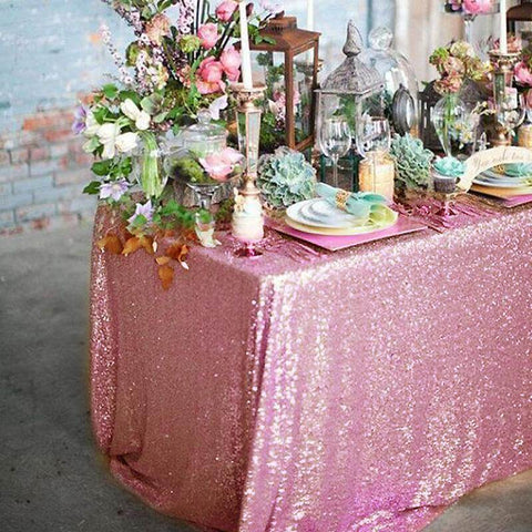 Pink premium sequin rectangle tablecloth