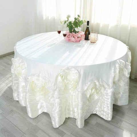 120 ivory large rosette round lamour satin tablecloth