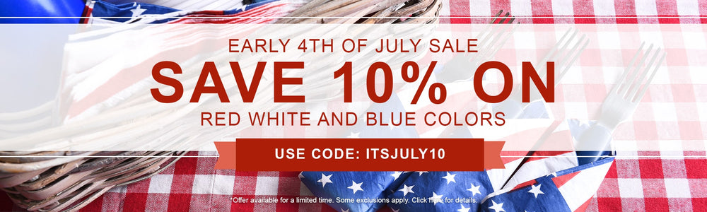 10% Off Red, White, and Blue Colors