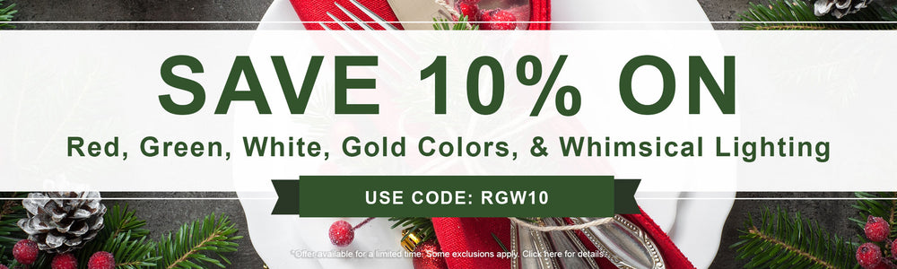 10% Off Red, Green, White, Gold colors, Whimsical LEDs: Use Code: RGW10