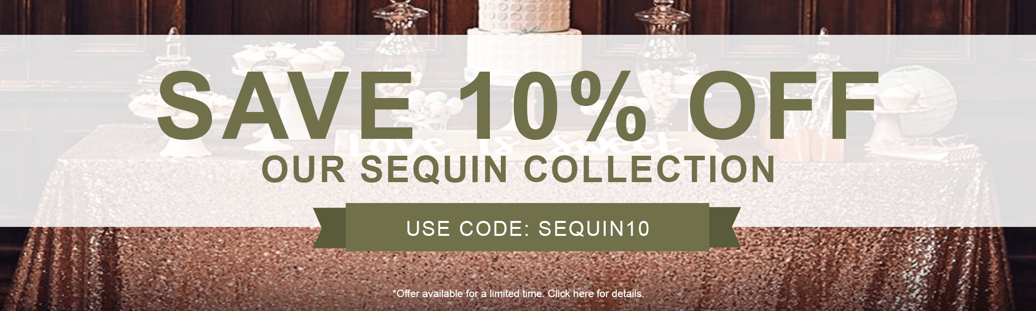 10% off Sequin Fabrics
