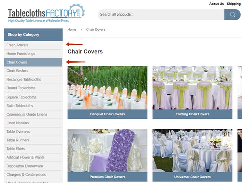 Fresh Arrivals & Chair Covers Pages