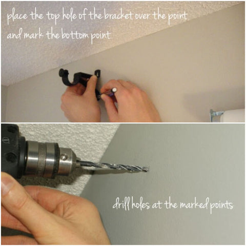 Mark the points and drill holes
