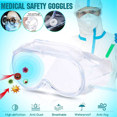 Adjustable Scratch Resistant Safety Goggles, Protective Eyewear With Anti Fog Coating & Air Vents