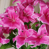 54 Supersized Artificial Casa Blanca Lily Flowers Wedding Bouquet Vase Centerpiece Decor - Fushia