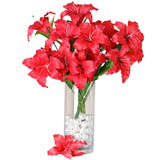 6 Bushes | 54 pcs | Red | Artificial Casablanca Lily Flowers