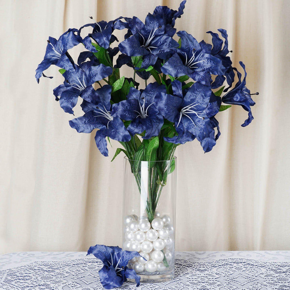 6 Bush 54 Pcs Royal Blue Artificial Casa Blanca Lily Flower Bridal