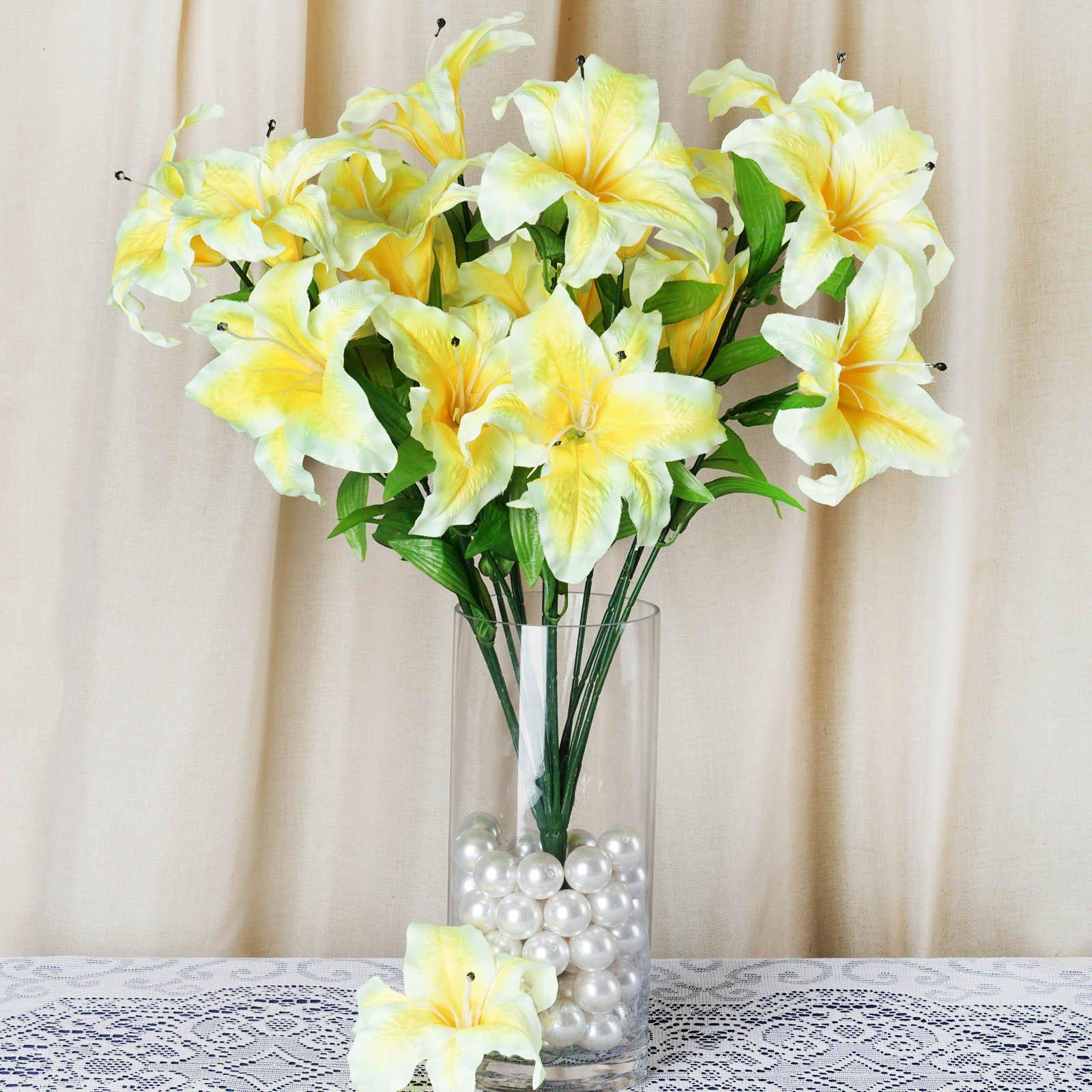 6 Bush 54 Pcs Yellow Artificial Casa Blanca Lily Flower Bridal