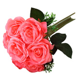 28 Pack | 4 Bushes Coral Artificial Open Rose Bouquet Flowers