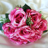28 Artificial Open Rose Flowers Bridal Bouquet Wedding Vase Centerpiece Decor - Fushia