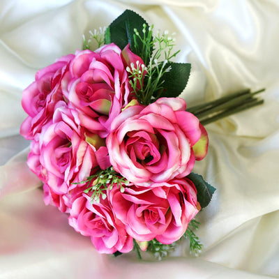 28 Pack | 4 Bushes Fushia Artificial Open Rose Bouquet Flowers