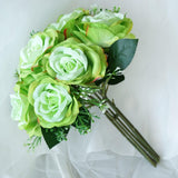 28 Artificial Open Rose Flowers Bridal Bouquet Wedding Vase Centerpiece Decor - Lime