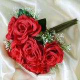 28 Pack | 4 Bushes Red Artificial Open Rose Bouquet Flowers